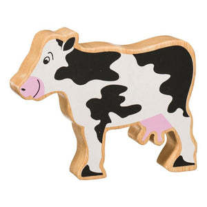 Natural Wooden Black & White Cow