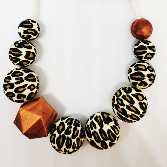 Leopard print Nursing/teething necklace