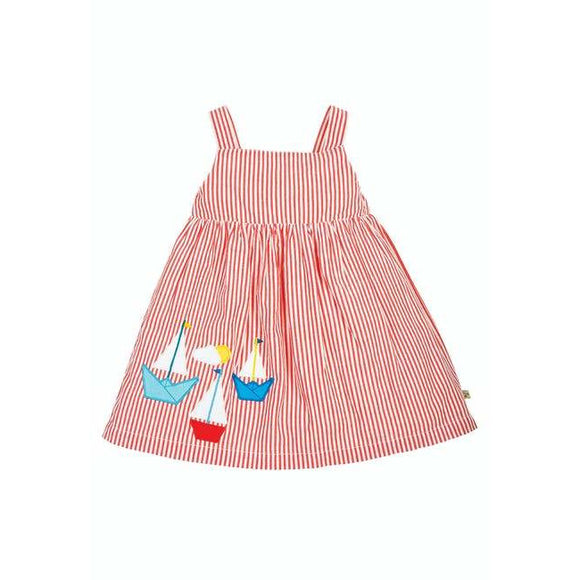 Alma Summer Dress, Koi Red Seersucker/boat