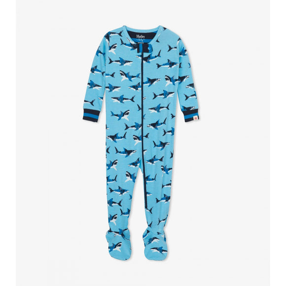Great White Sharks Organic Cotton Footed Coverall