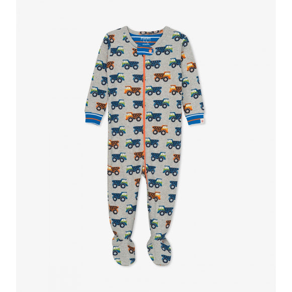 Dump Truck Organic Cotton Footed Coverall