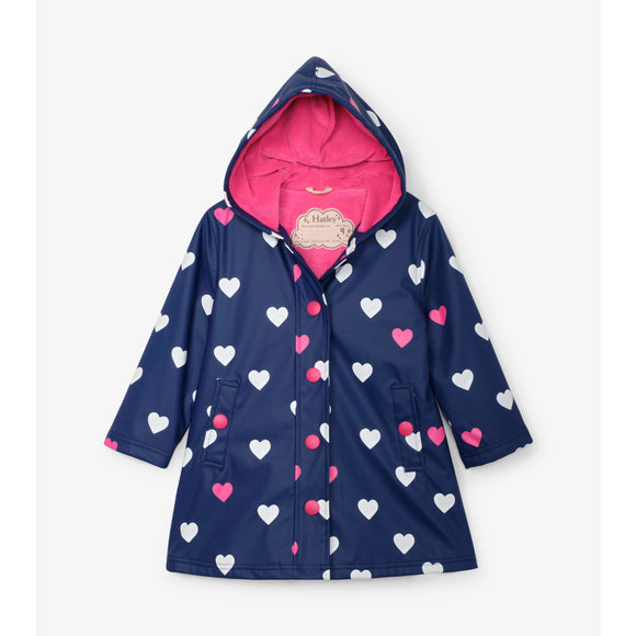 Heart Striped Colour Changing Raincoat