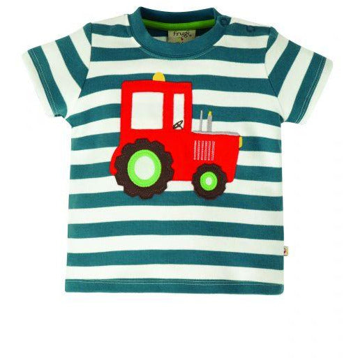 Little Wheels Applique Top, Steely Blue Stripe/Tractor