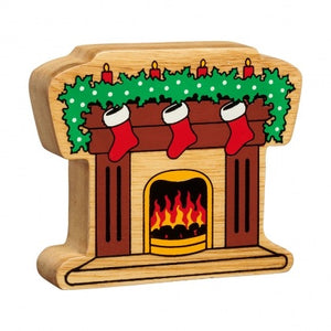 Natural Wooden Fireplace with Stockings