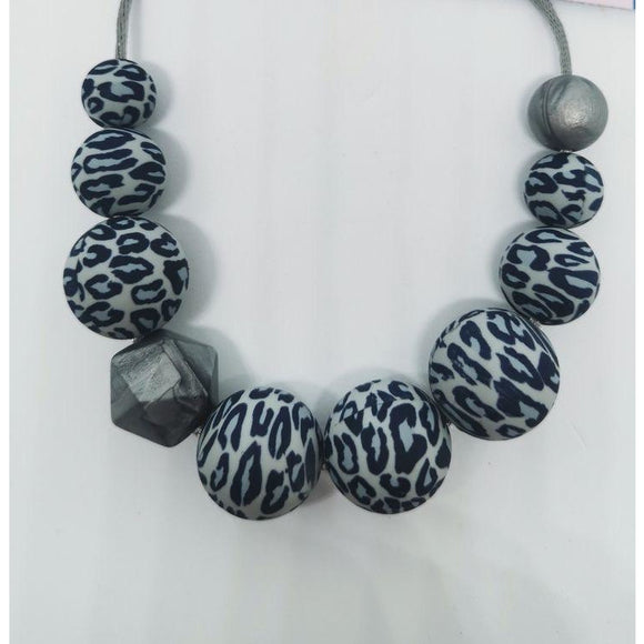 Grey Leopard print Nursing/teething necklace