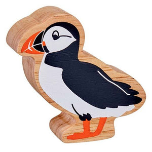 Natural Wooden Black & White Puffin