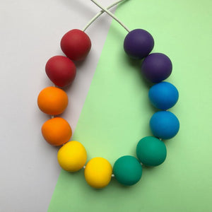 Classic rainbow adjustable clay bead necklace