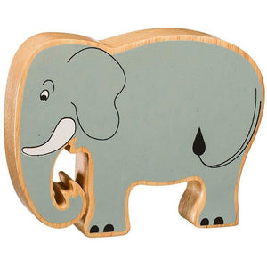 Natural Wooden Grey Elephant