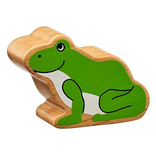 Natural Wooden Green Frog