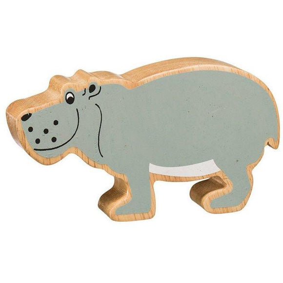 Natural Wooden Grey Hippo