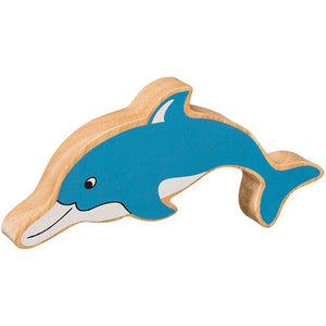 Natural Wooden Blue Dolphin