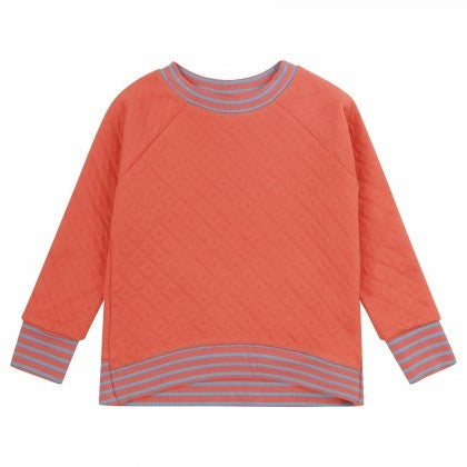 Plain Orange Quilted Sweatshirt