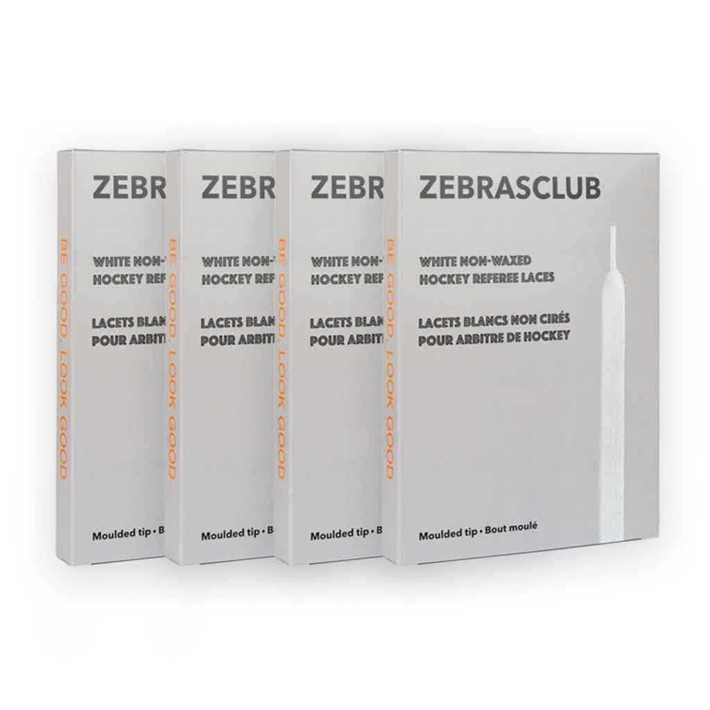 4 pack of Zebrasclub white non waxed hockey referee laces