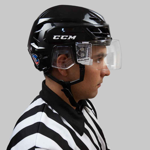 Bauer pro-clip straight clear hockey referee visor with a CCM resistance 110 helmet