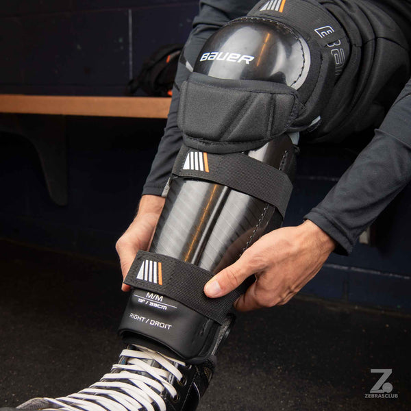 Bauer hockey referee shin guards side