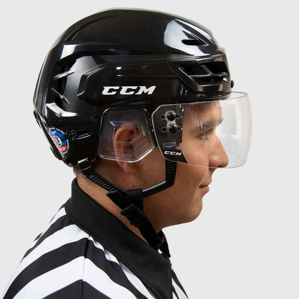 CCM VR25 straight clear hockey referee visor with a ccm resistance 110 black helmet right side