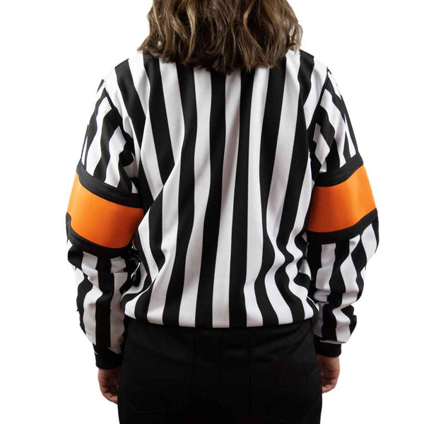 Force pro hockey referee jersey for women with orange armbands back view
