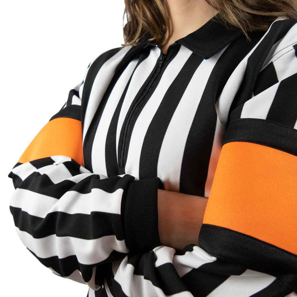 Force pro hockey referee jersey for women with orange armbands close view