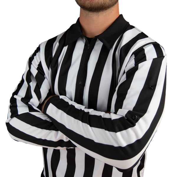 Zebrasclub ZL hockey referee jersey with snaps on model