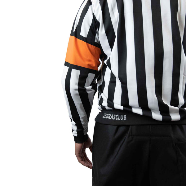 Zebrasclub zr1 hockey referee jersey with orange armbands back logo