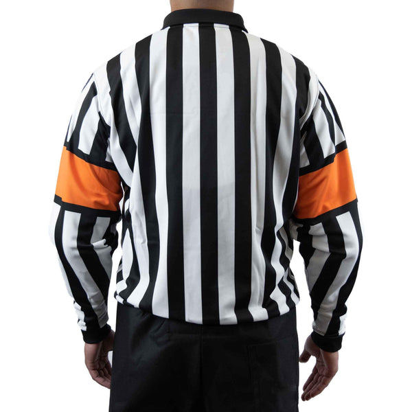 Zebrasclub zr1 hockey referee jersey with orange armbands back view