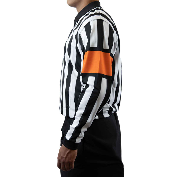 Zebrasclub zr1 hockey referee jersey with orange armbands left view