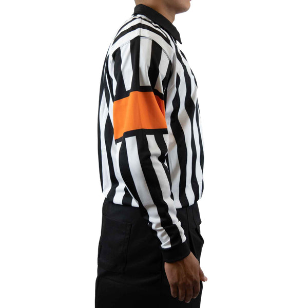 Zebrasclub zr1 hockey referee jersey with orange armbands right view