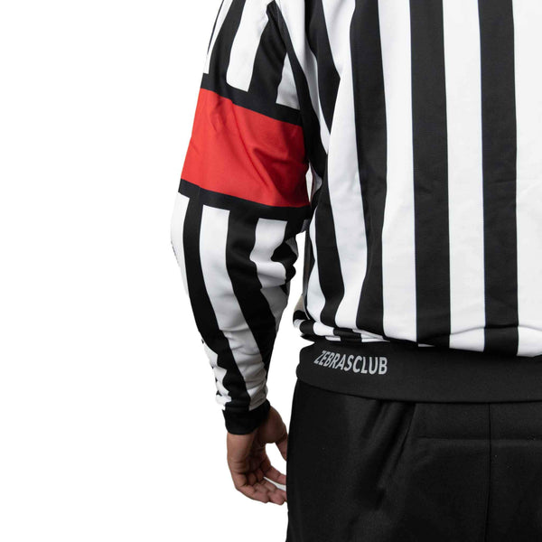 Zebrasclub zr1 hockey referee jersey with red armbands back logo