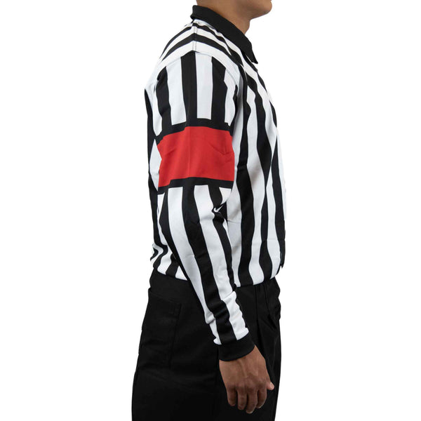 Zebrasclub zr1 hockey referee jersey with red armbands right view