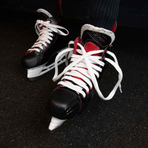 Zebrasclub white waxed hockey referee laces on skate
