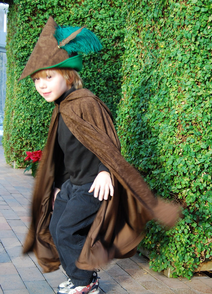 Boys Robin Hood Costume Cape Hat Dress Up Play