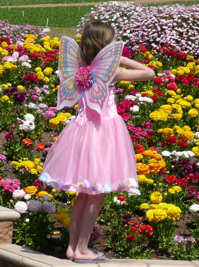 Girls Fairy Costume Skirt Wings Pink Dress Up Imaginative Play