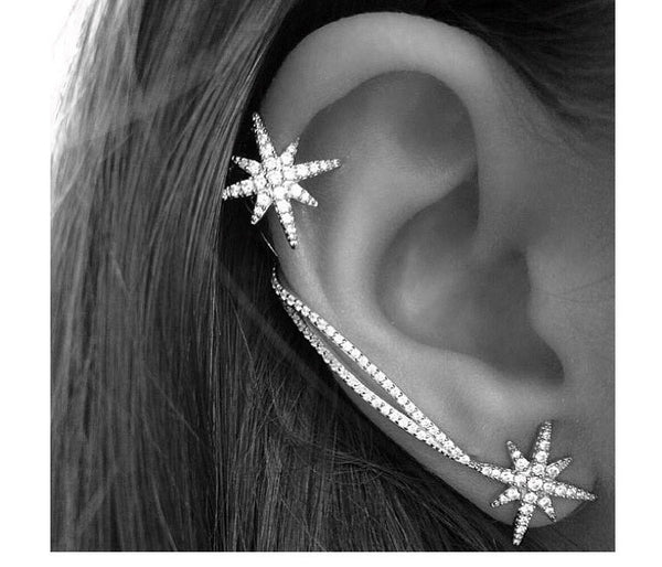 Trendy Darling clip earrings with full Rhinestone Stars and Crystal Tassel.