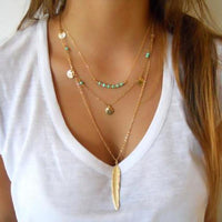 New Layered Necklace Bohemia Gold Silver tassel Blue Beads Feather Pendant Multi Layer Necklaces For Women Collier Boho Jewelry
