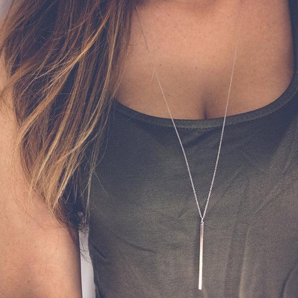 Simple Stick Pendant Bar Long Necklace Hollow Girl Long Link Chain Square Copper Necklaces Long Strip Jewelry for Women Gift