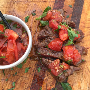 Black Pepper Grilled Flat Iron Steak with Charred Tomato Relish