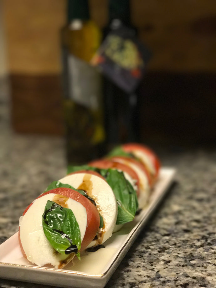 Caprese Salad with Rosemary and Garlic oil and Maple Balsamic