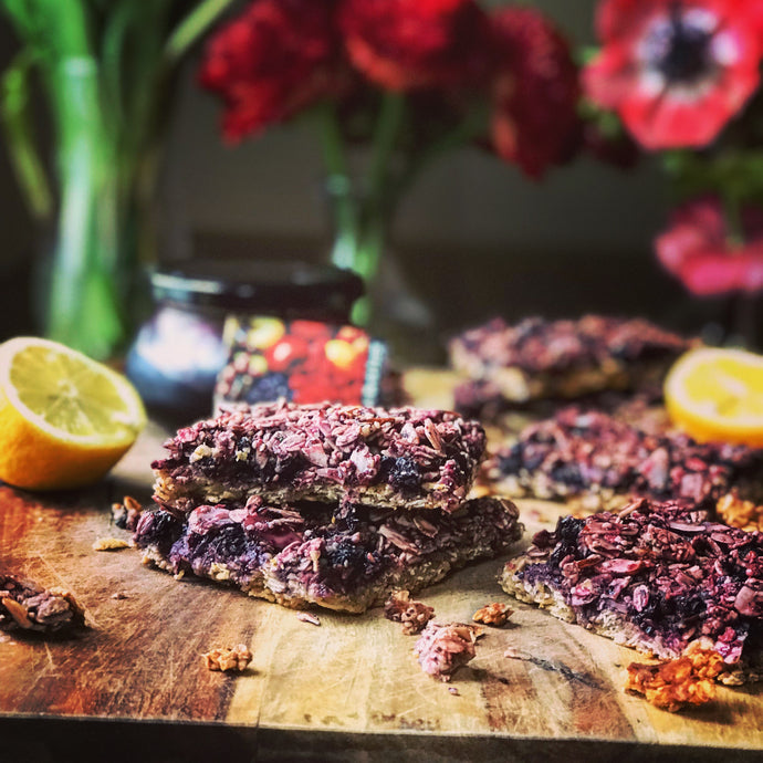 Wild Blueberry with Limoncello Jam oatmeal breakfast bars