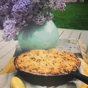 Raspberry and Rhubarb Skillet Cobbler