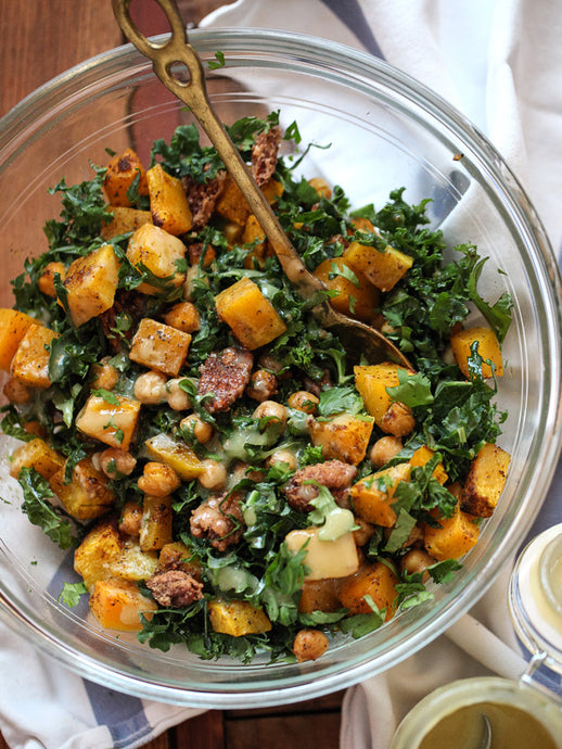 Maple Balsamic Butternut squash and Chick peas with Kale