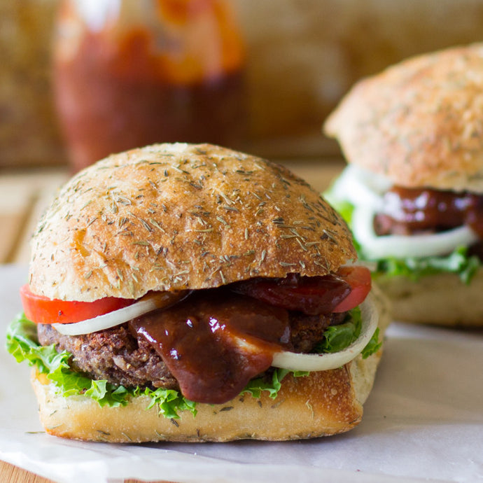 Black Bean Burgers with Smoked Maple Chipotle Finishing Sauce