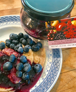 Gluten Free Pancakes with Wild Blueberry with Limoncello Jam