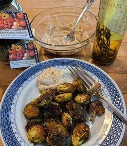 Oven Roasted Brussels Sprouts with Sundried Tomato and Horseradish Aioli