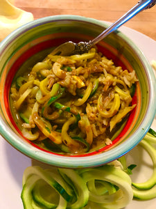 Sautéd Zucchini spirals with Chipotle Peanut Finishing Sauce