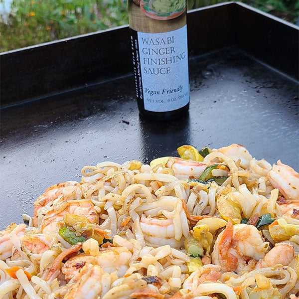 Shrimp Stir Fry with Rice Noodles and Wasabi Ginger