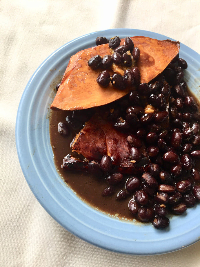 Balsamic Roasted Sweet Potatoes with Spicey Baked Beans