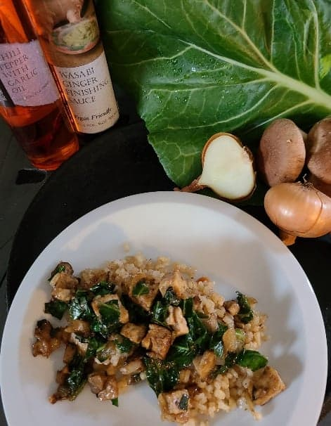 Tempeh Stir fry with Wasabi Ginger Finishing Sauce