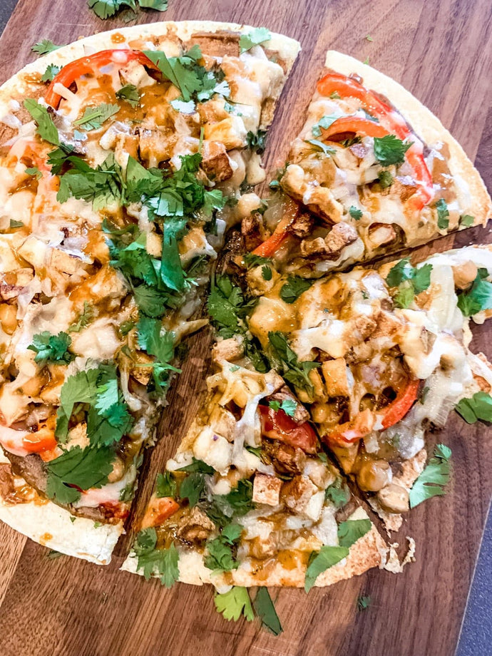 Thai Pizza with Chipotle Peanut Finishing Sauce