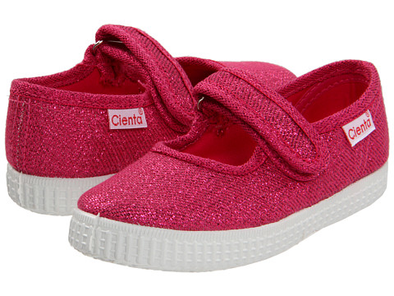 CIENTA GLITTER MARY JANE SNEAKER fuschia side/back view