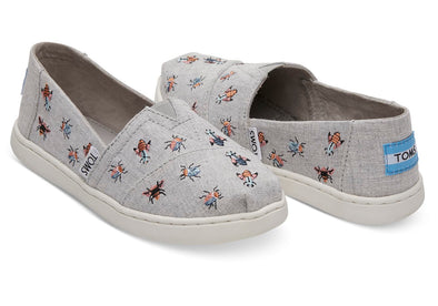 Toms Classic Drizzle Grey Embroidered Bugs (Little Kid)